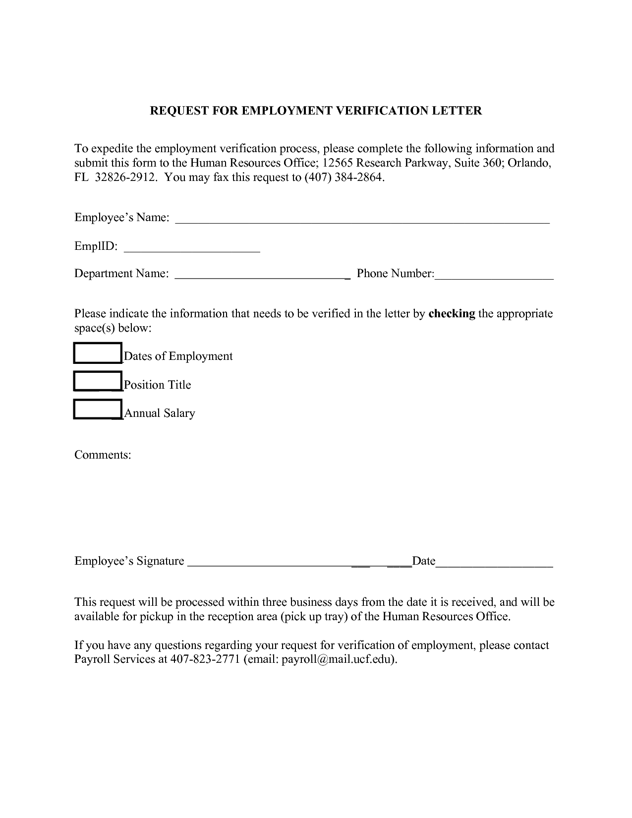 Employment Verification Letter Form Template