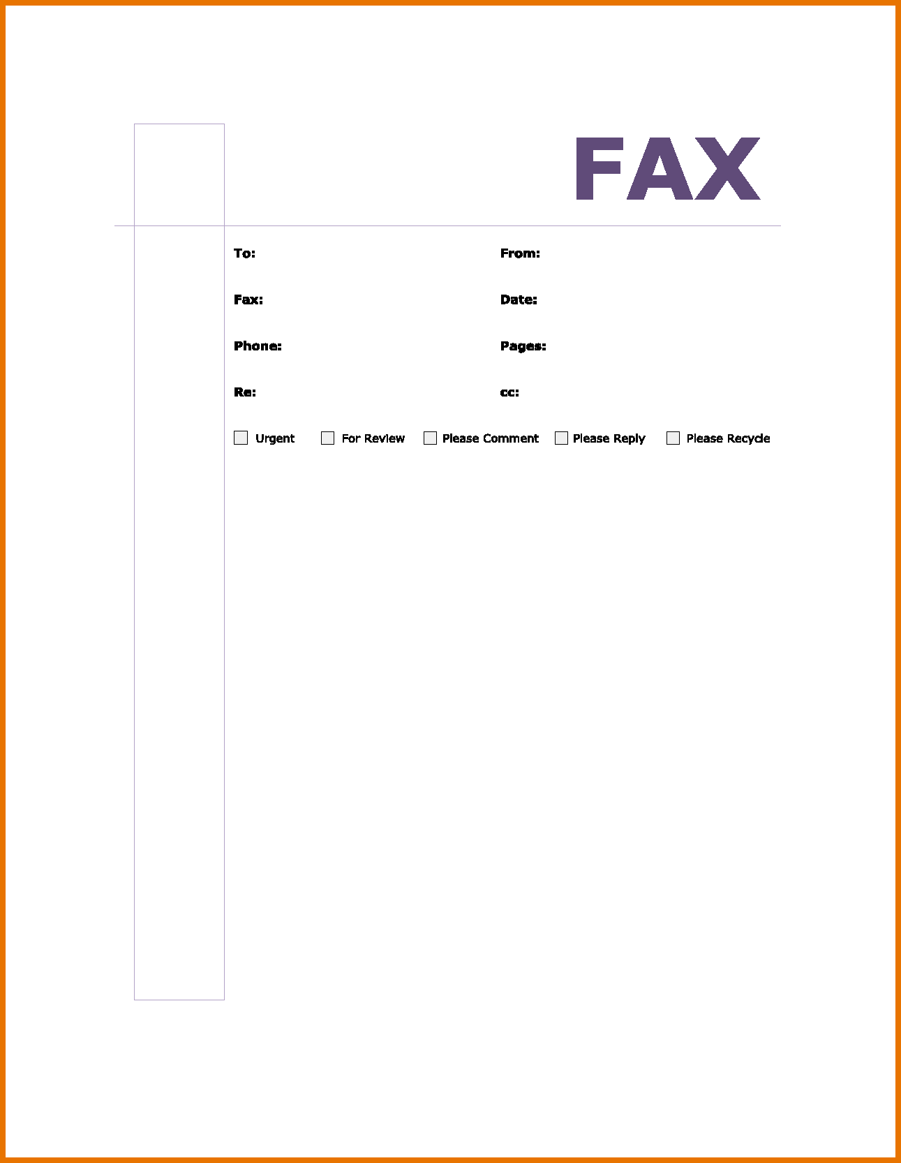 10 Fax Cover Sheet Template In Word Doc Professional