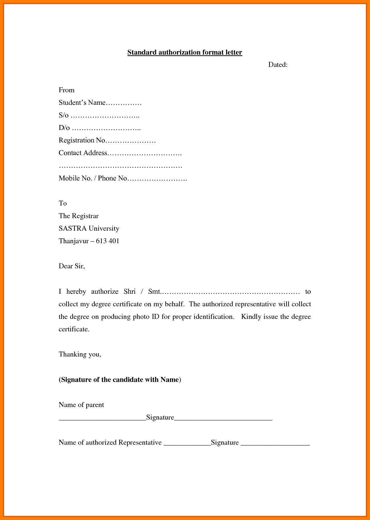 Authorization Letter Formats